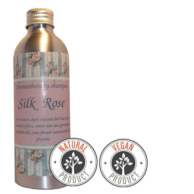 "Sulfate-free volumizing shampoo ""Silk Rose"" for dry hair"