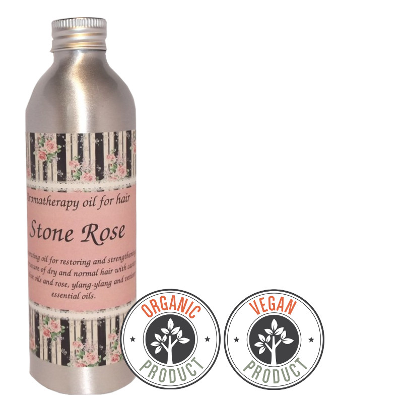 "Organic and regenerating hydrophilic oil ""Stone Rose"" for dry and normal hair"