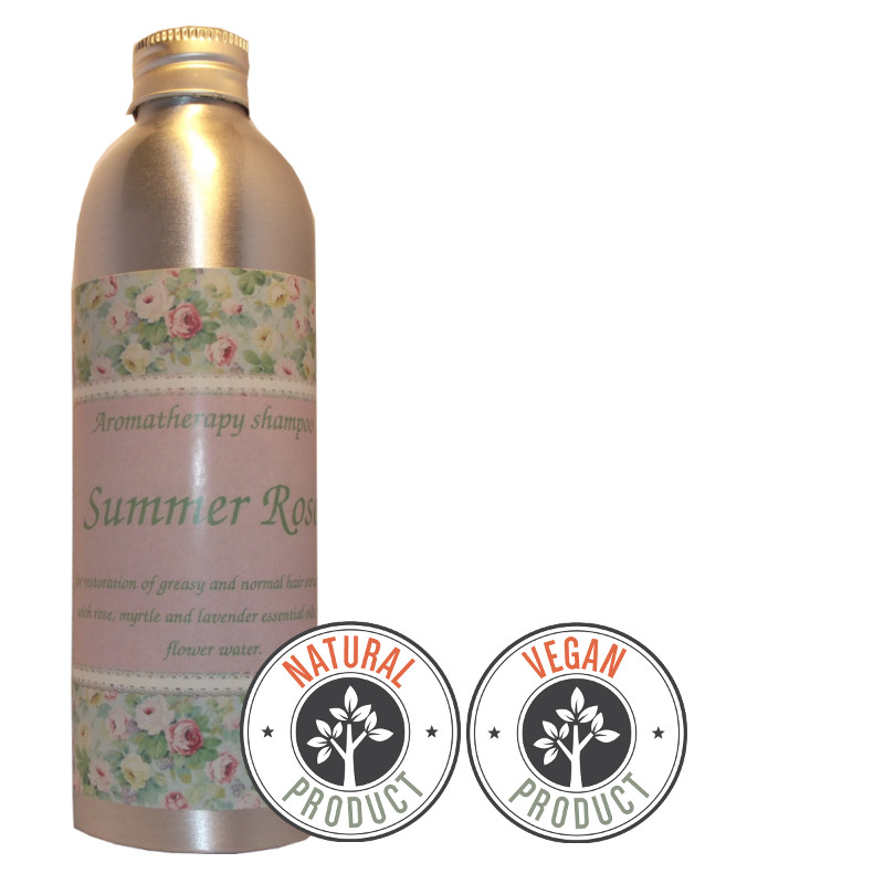 "Sulfate-free restorative shampoo ""Summer Rose"" for greasy and normal hair"