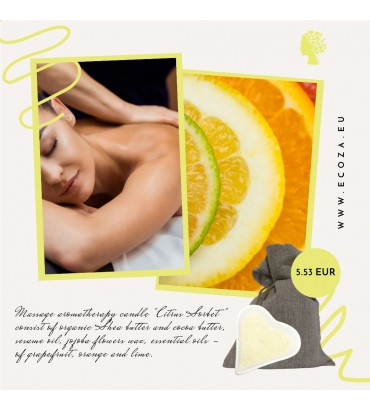 "Organic massage candle for body ""Citrus Sorbet"""