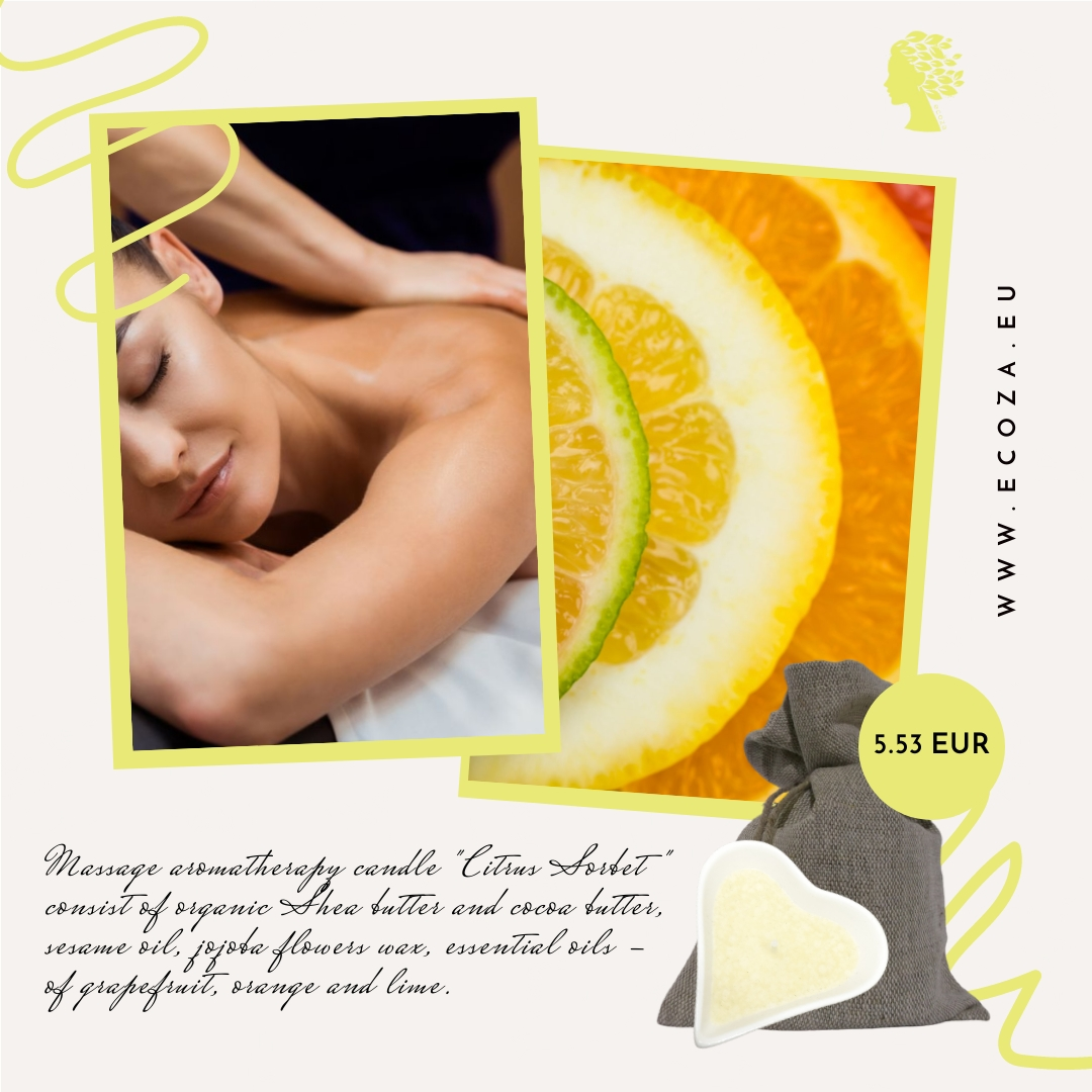 """Organic massage candle for body """"Citrus Sorbet"""""""